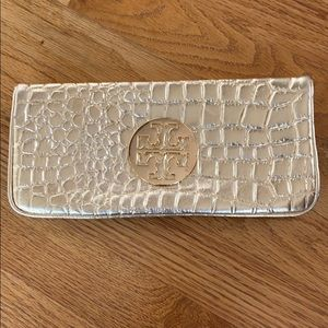 TORY BURCH Gold Croc embossed leather CLUTCH/purse